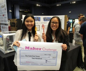 An image of two students who won first place at the ocMaker Challenge