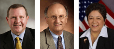 Images of Board of Education trustees Ken Williams, Jack Bedell and Beckie Gomez