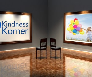 A graphic showing the Kindness Korner logo and a girl with balloons