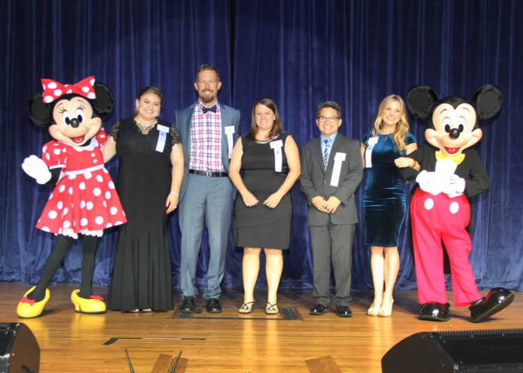 Teacher of the Year Finalists with Mickey and Minnie Mouse
