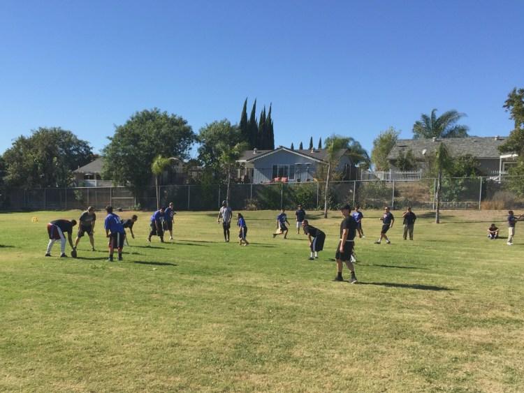 A flag football game