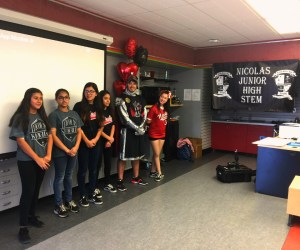 Four Nicolas Junior High School seventh- and eighth-graders who recently earned honorable mention in the Congressional App Challenge