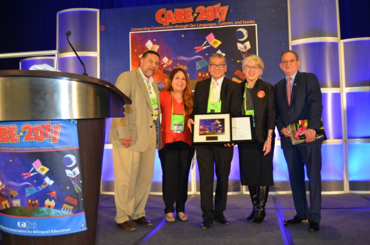 Michael Matsuda presented with an award