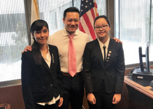 Assemblyman Phillip Chen with two sonora high students