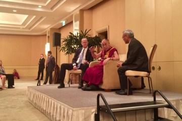 The Dalai Lama with Anaheim Mayor Tom Tait