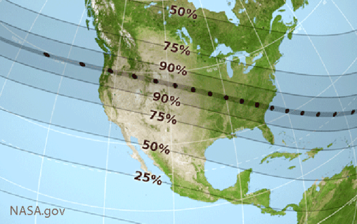 A NASA map of the United States showing the path of totality for the August 21 total solar eclipse.