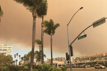 Canyon Fire 2 smoke over Orange