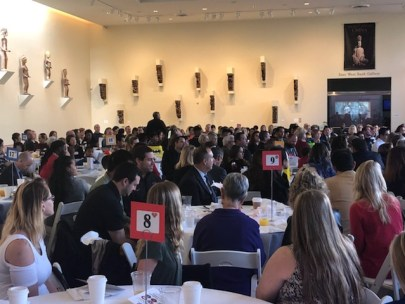 Attendees gather for an awards breakfast at Bowers Museum