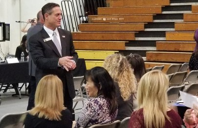OC SUpervisor Todd Spitzer speaks with a group about school safety