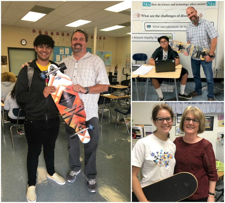 Students with their new skateboards, along with their teachers