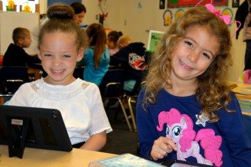 Two students from the Monroe Elementary Language Academy