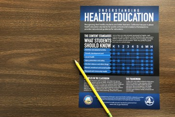 Health education guide on a table