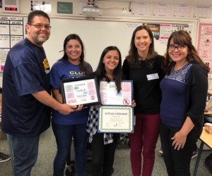 Ashley Lopez with school and club staff members