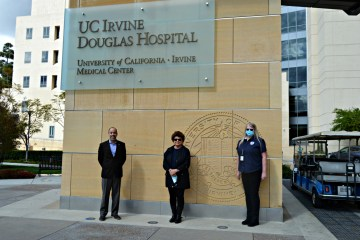 UCI Health CEO Chad T. Lefteris, GGUSD Board of Education Vice President Teri Rocco, and GGUSD School Nurse Department Chair Cheryl Gibbs