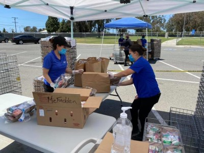 District staff working to hand out meals