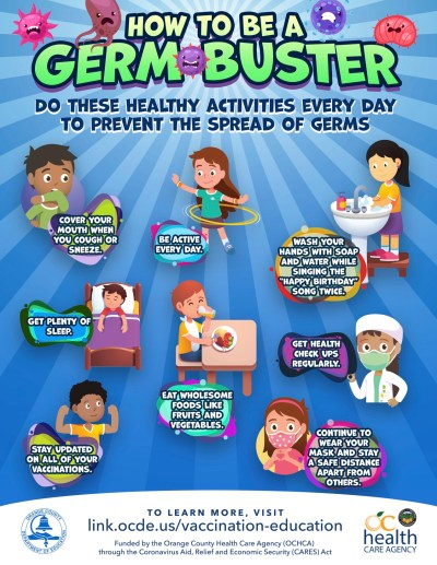 "Student information sheet for grades K-3, titled ""How to Be a Germ Buster"""