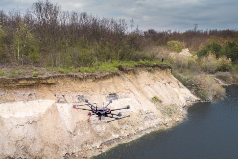 Drone laser scanning on the shores of Nechranice Dam
