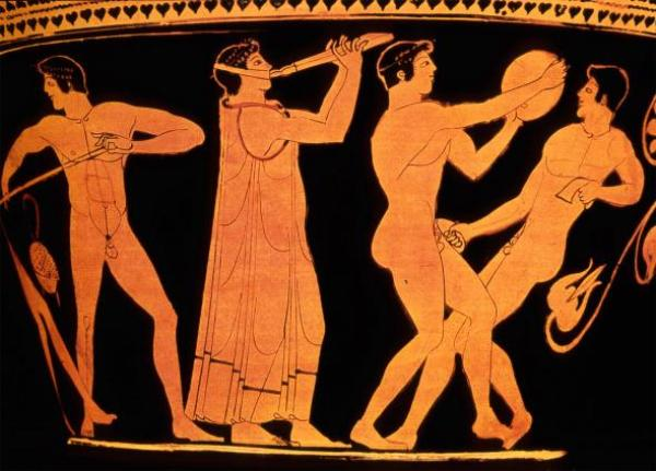 Athletics and entertainment intertwine on an ancient Greek vase. Source: ACE Stock Limited/ALAMY