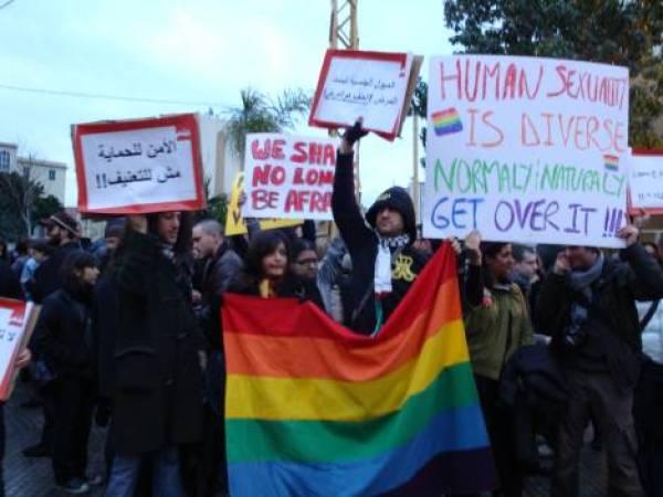 Helem demonstration in Beirut denouncing violence against homosexuals and other minority groups. © Alexandra Sandels
