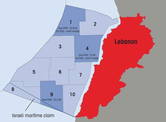 Lebanon offshore oil map | Source: Executive Magazine