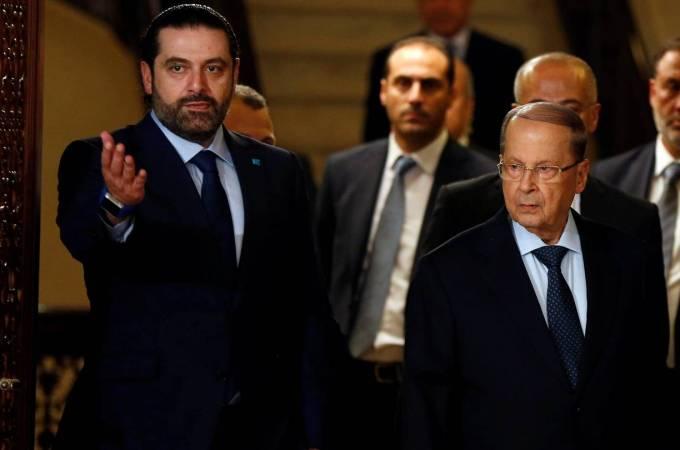 MP Michel Aoun, right, with Lebanon's former prime minister, Saad Hariri, left, following Hariri's endorsement | Source: REUTERS