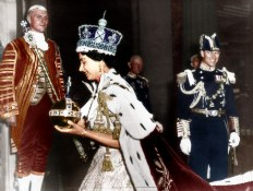 HM QUEEN CORONATION - 2nd JUNE 1953 Coronation smiles... but the Queen almost forgot her orb and sceptre. Monty Fresco/Daily Mail