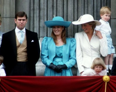 LONDON, UNITED KINGDOM - JUNE 13: (l To R) Prince Andrew, Sarah Duchess Of York, Princess Diana And Prince Harry On The Balcony Of Buckingham Palace For Trooping The Colour. She is wearing a hat by Philip Somerville. (Photo by Tim Graham/Getty Images)