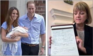 Новорожденный: Принц Джордж Александр Луи родился 22 июля в больнице Святой Марии в Паддингтоне и сегодня его рождение было зарегистрировано заместителем регистратора Элисон Кэткарт