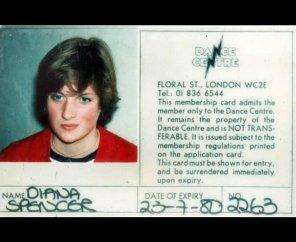 Членский билет леди Дианы в Цветочный уличный танцевальный центр в Ковент-Гардене