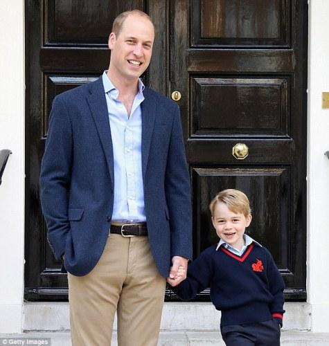Принц Уильям с принцем Джорджем в первый школьный день 7 сентября 2017