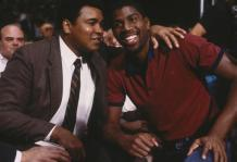 LOS ANGELES - UNDATED: Earvin (Magic) Johnson poses with Muhammad Ali in the stands during a game circa 1980's. (Photo by Focus on Sport/Getty Images) *** Local Caption *** Muhammad Ali;Earvin Johnson