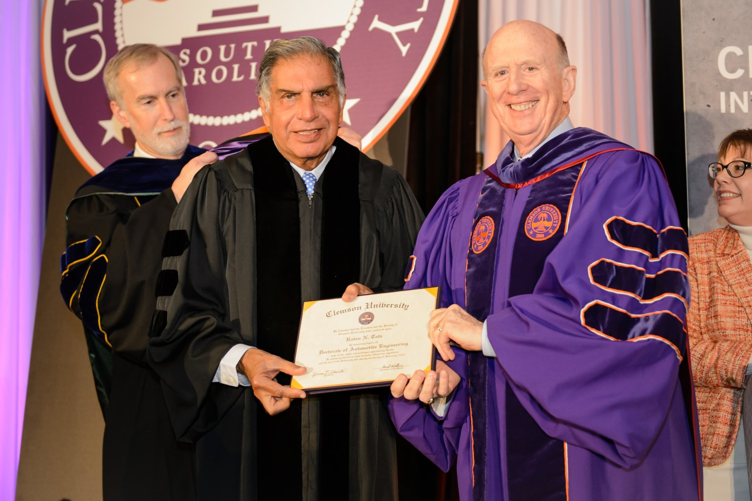 Ratan Tata, center, received Clemson University's first honorary Ph.D. in automotive engineering when he visited in February 2015. He is pictured with Clemson Trustee David Wilkins, right, and Robert Jones, executive vice president for academic affairs and provost