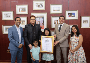 Sara Chhipa 10-year-old Indian World Record Holder felicitated by the Consulate General of India in Dubai UAE