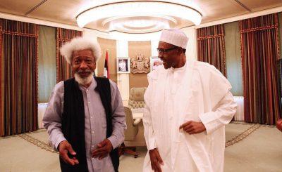 wole soyinka and Buhari e1470928993440 - Engage militants in dialogue, respond to their demands, Soyinka tells Buhari