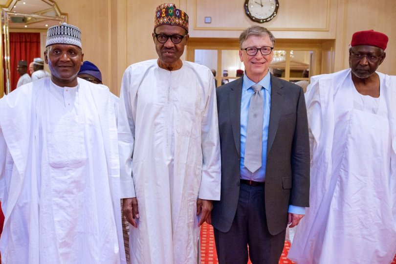 Dangote Buhari and Gates - Bill Gates condemn ERGP, says it doesn't reflect people's needs