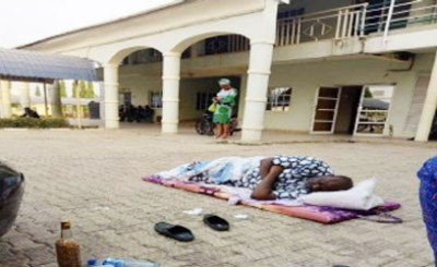Senator Dino Melaye Lying On The Floor At The Dss Medical Facility In Abuja Yesterday