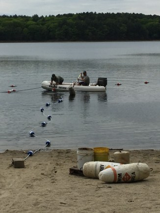 Putting out the buoys ..Wednesday 5/24
