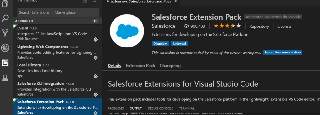 Salesforce Extension Pack VScode SFDX