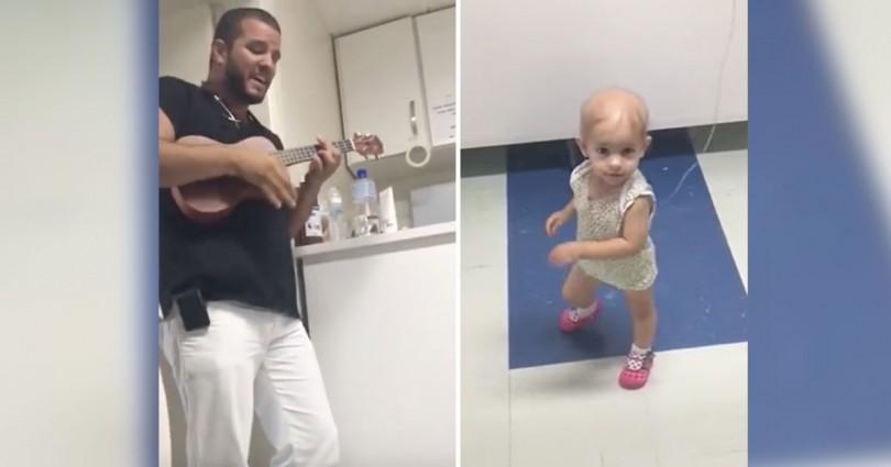 Γιατρός παίζει ένα τραγούδι σε κοριτσάκι με καρκίνο και η μικρή χορεύει γεμάτη χαρά