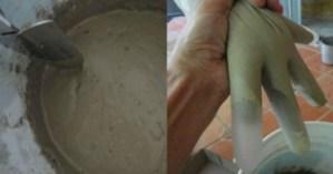 Χύνει τσιμέντο μέσα σε λαστιχένια γάντια. Μετά από 2 ημέρες δημιούργησε κάτι πολύ όμορφο.