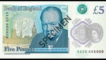Image result for image of new five pound note plastic