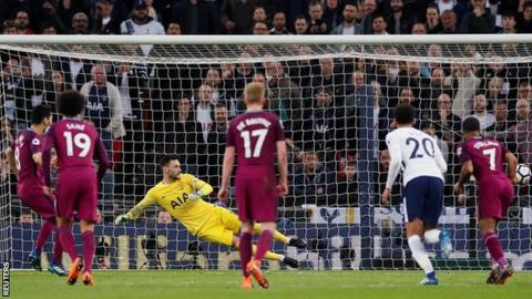 Man City one win from title after victory at Tottenham 10