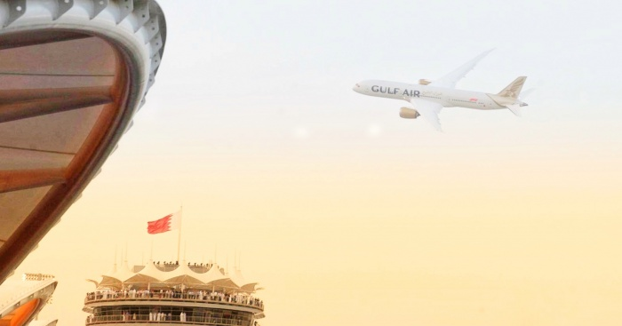 Gulf Air showcases new livery with Dreamliner flypast during Bahrain Grand Prix 2