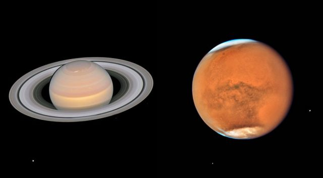 Hubble Captures Mars and Saturn as They Pass Close to Earth 3