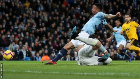 Manchester City 3-0 Wolves: Gabriel Jesus scores twice as City narrow gap on Liverpool 12