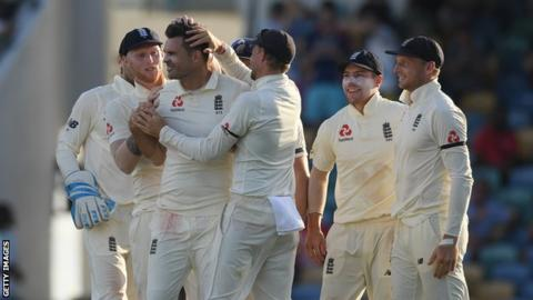 England in West Indies: James Anderson takes four wickets to boost tourists 5