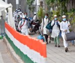 New Delhi: People who showed coronavirus symptoms being taken to various hospitals from Nizamuddin area in New Delhi, Monday, March 30, 2020. The police took around 200 such people to the hospital as they participated in a religious congregation at a mosque, few days back. (PTI Photo/Ravi Choudhary) (PTI30-03-2020_000229B)