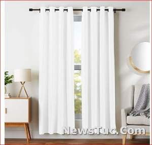 White 2 Panels Room Darkeningwith Grommets Blackout Window Curtains