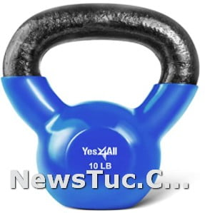 B. 10lbs Dark Blue Yes4All Vinyl Coated Solid Cast Iron Kettlebell Weights
