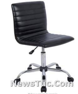 3 Ribbed Low Back Armless Black Home Office Computer Desk Chair